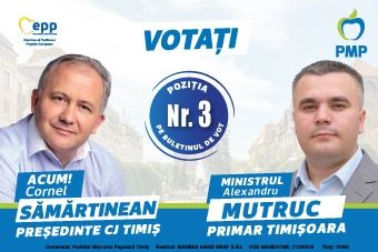 Echipa PMP Timiș – Cornel Sămărtinean la Consiliul Judetean Timiș și Alexandru Mutruc la Primăria Timișoara – singura alegere viabilă în 27 septembrie (P)