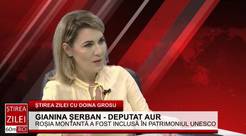 """Gianina Șerban(AUR): """"Roșia Montană este un caz fericit. Observăm cum resursele noastre sunt vândute, iar noi nu câștigăm nimic ca țară. Ei vin, distrug și pleacă"""""""