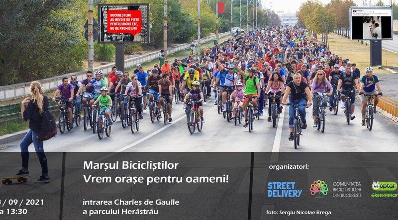 Protest al bicicliştilor din Capitală, sub sloganul: Vrem oraşe pentru oameni!